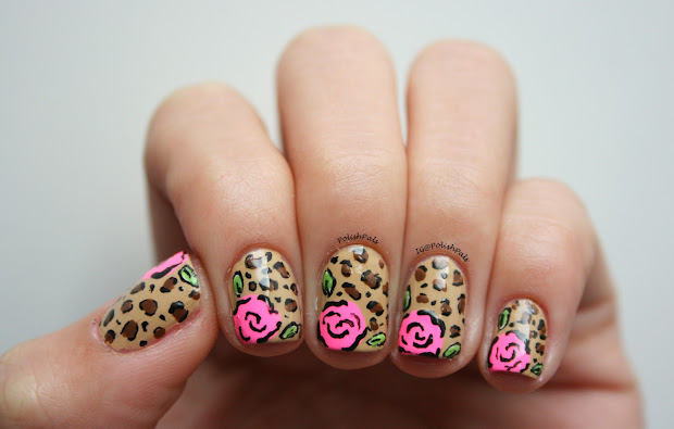 polish pals leopard rose nails