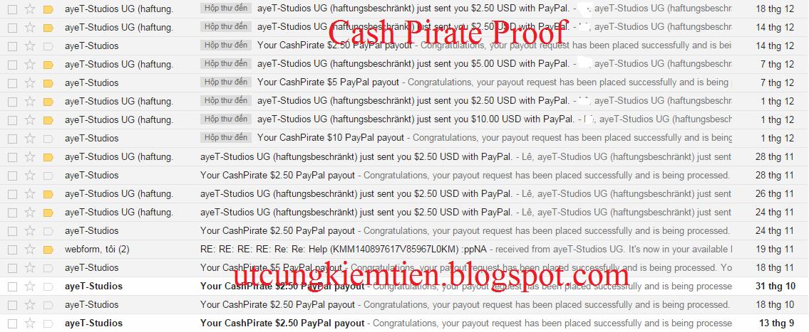 Cash Pirate Kiếm tiền trên điện thoại Android
