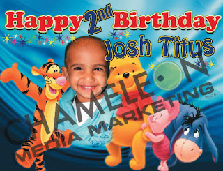 Pooh Bear, Piglet, Eeyore Themed Birthday Banner and Invitations with child photo