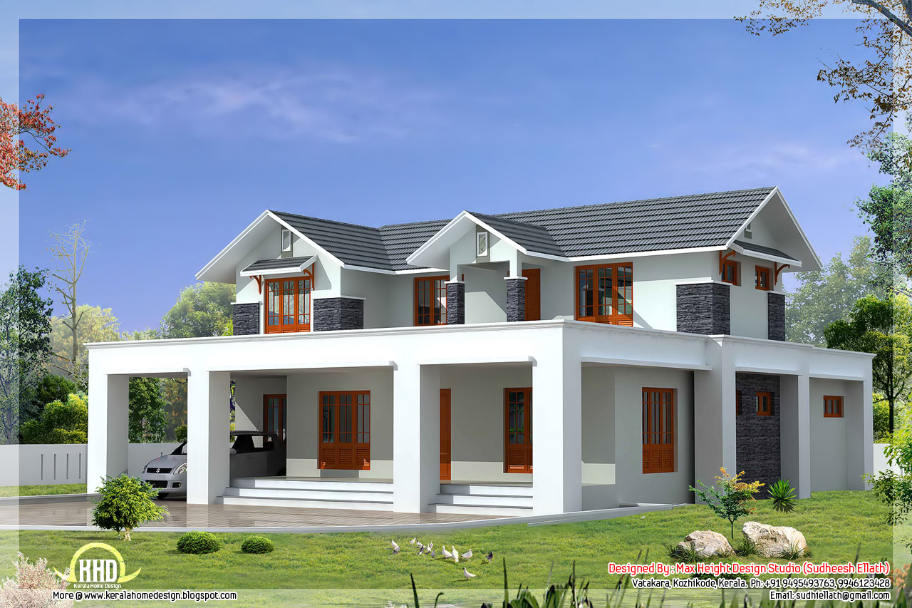 Flat and sloping roof mix house elevation in 2500 for Sloped roof house plans in india