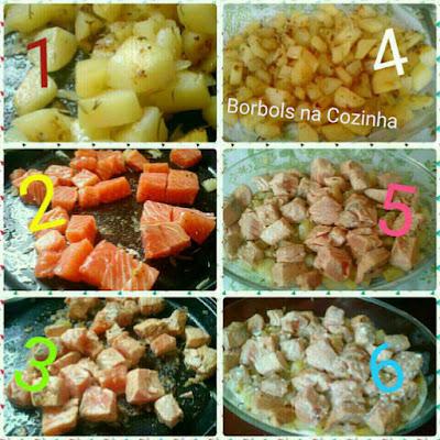 Salmão Gratinado com batatas e creme de ricota -  sem glúten