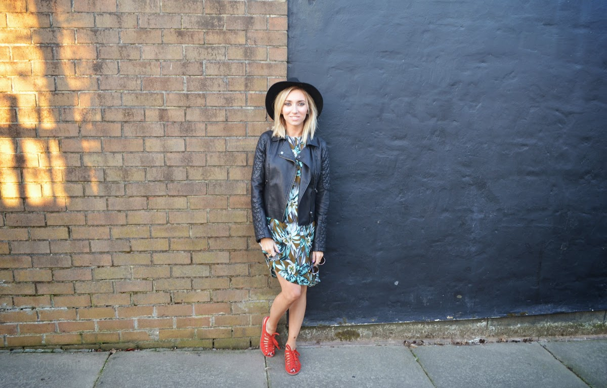 Dorothy Perkins Print Dress - Leather Jacket