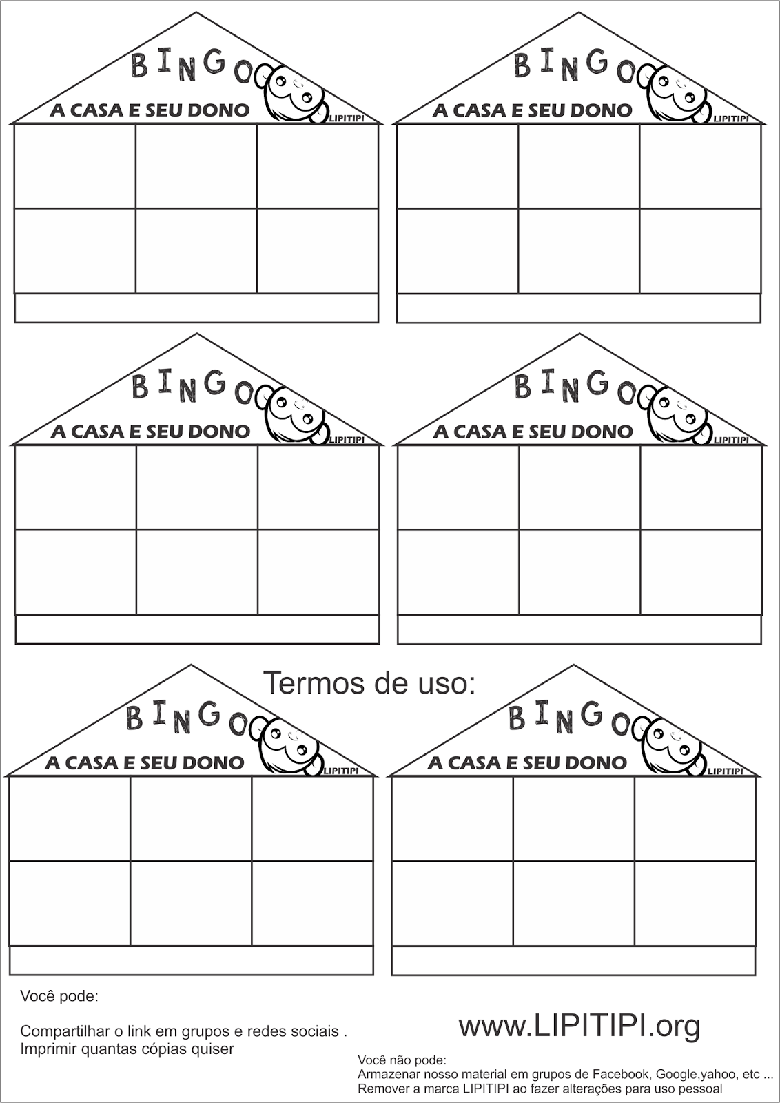 Cartelas Bingo de Palavras A Casa e seu Dono para imprimir Grátis