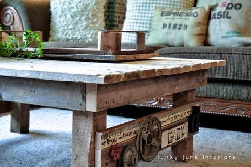 aadiendo los accesorios reciclados que os hemos comentado al principio de post han logrado hacer de un mueble de palets sencillo una mesa de diseo para