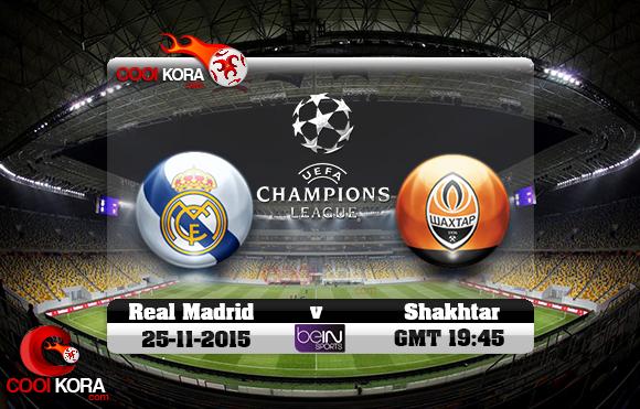 مشاهدة مباراة شاختار وريال مدريد اليوم 25/11/2015 علي بي أن سبورت HD3