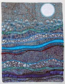 undulating gray blue purple landscape with white moon