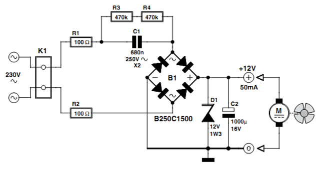 12V Fan Directly on 230 V Circuit Diagram