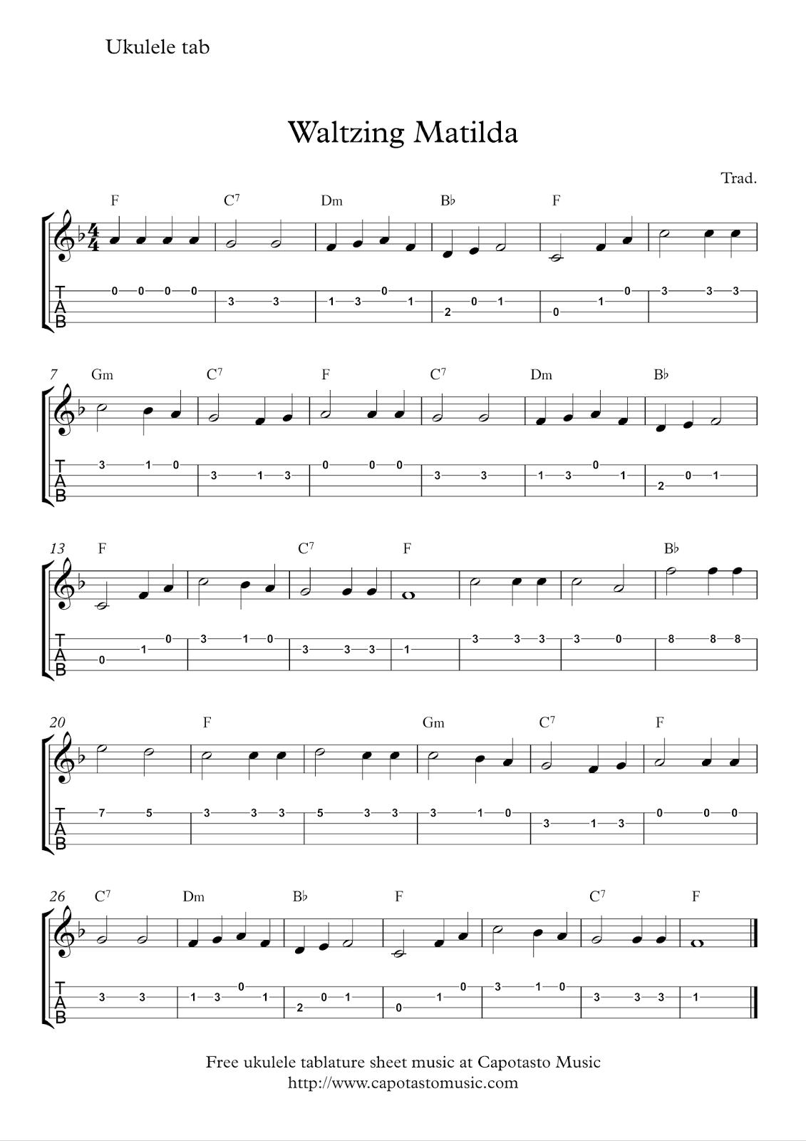 Free ukulele tab sheet music, Waltzing Matilda