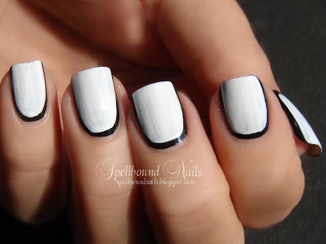 nails nailart nail art mani manicure Spellbound border borders roses stamping black white L.A. Colors tutorial elegant stamp stamped stamper