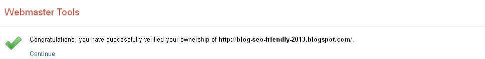 Image verifikasi blog metode google analytics berhasil