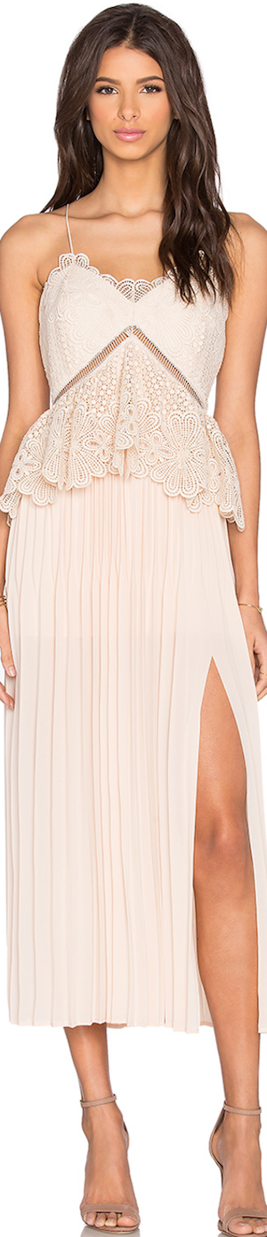SELF-PORTRAIT LACE PEPLUM MIDI DRESS