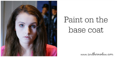 Paint on the Base Coat - Zombie Makeup Tutorial Halloween Face Painting