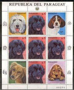1986年パラグアイ共和国 ニューファンドランド オールド・イングリッシュ・シープドッグ ビーグル サルーキ コッカー・スパニエルの切手シート