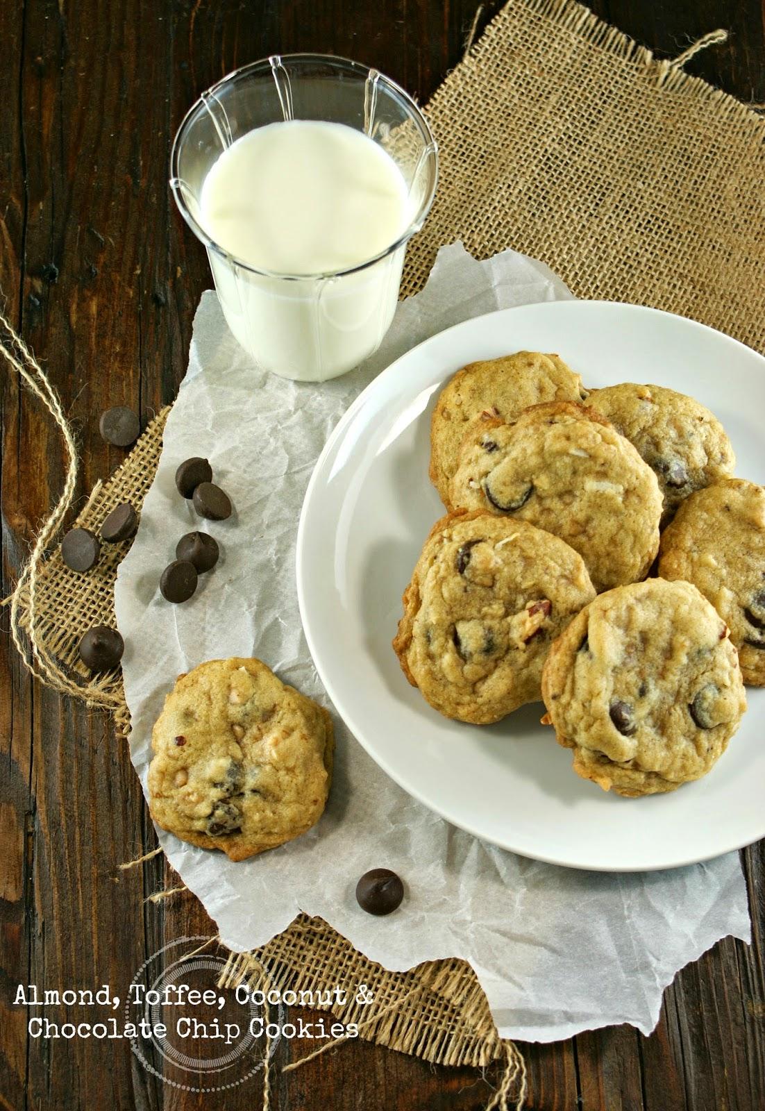 almond, toffee, coconut & chocolate chip cookies | secret recipe club