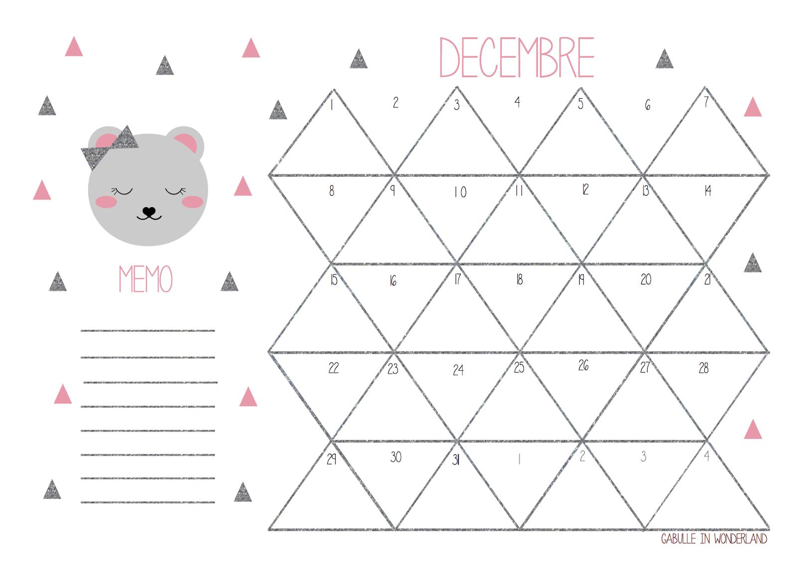 Gabulle in wonderland calendrier de d cembre imprimer for Calendrier jardin juin 2015