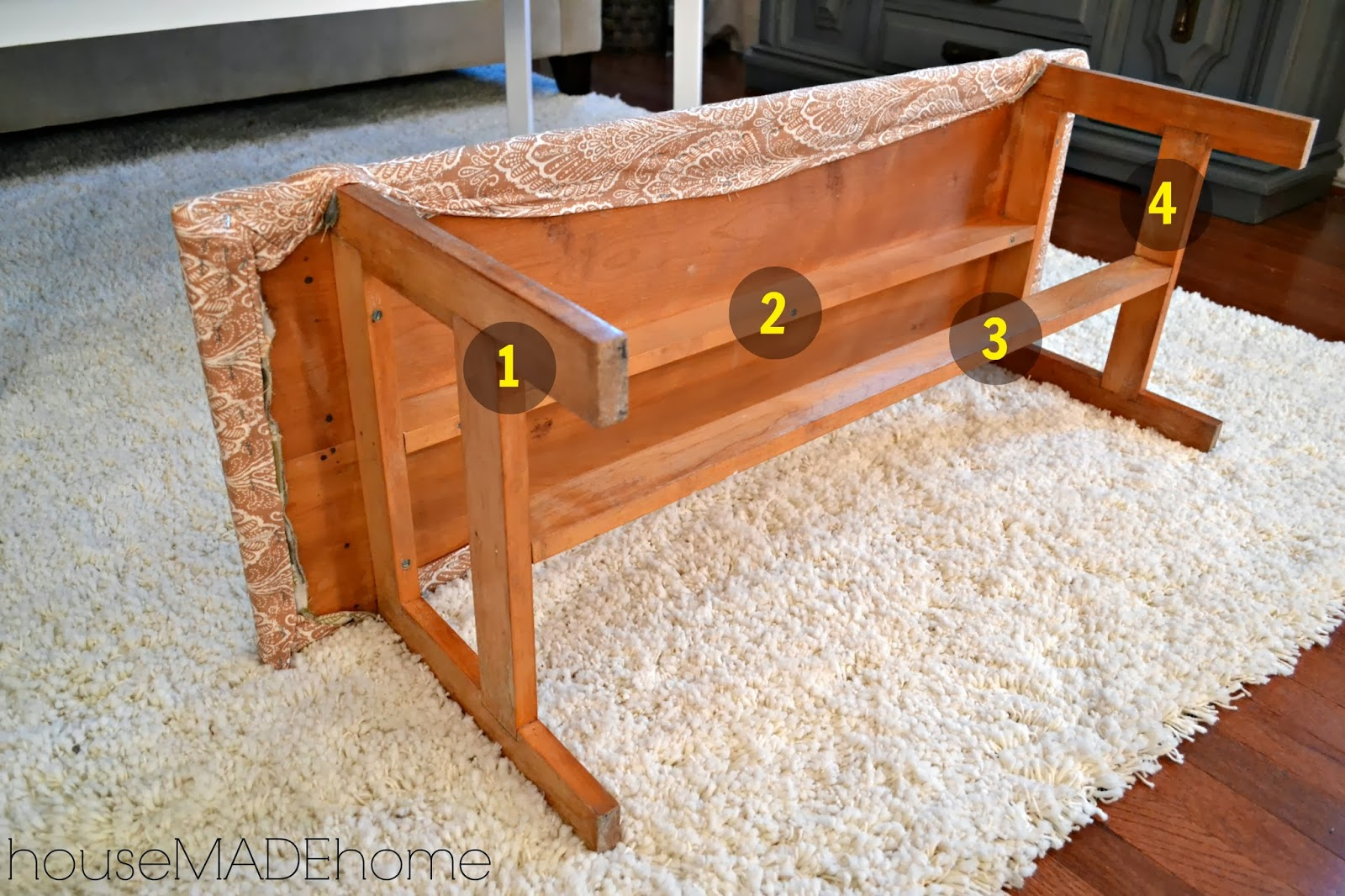 Hmh designs diy dog gate from a bench a tutorial Bench dog