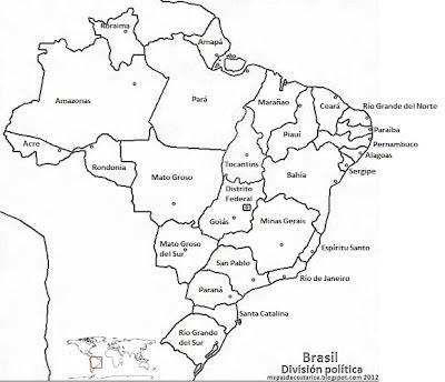 Mapa de los nombres de estados y el distrito federal brasileños , blanco y negro