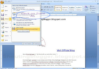 how to Save microsoft office Word 2007 to other format