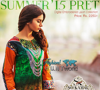 Summer '15 Pret Wear By SO Kamal | Digital Embroidered Lawn Collection 2015-16