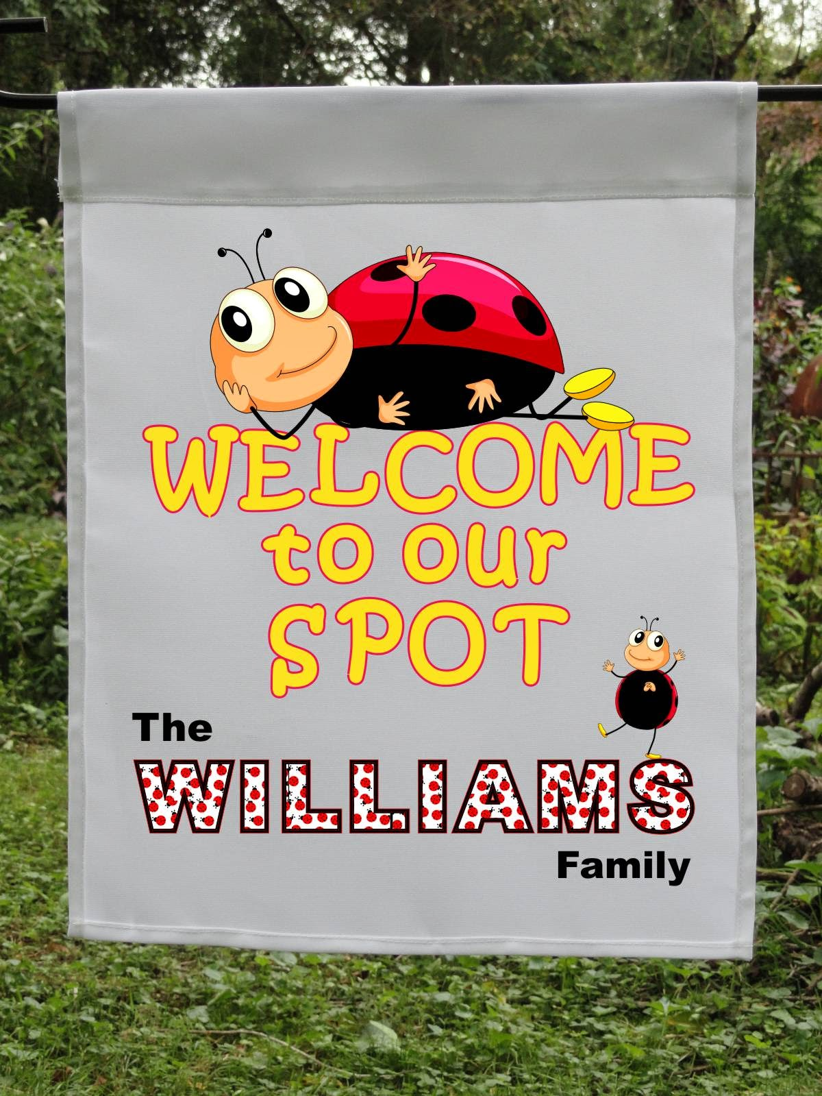 ladybug welcome personalized flag