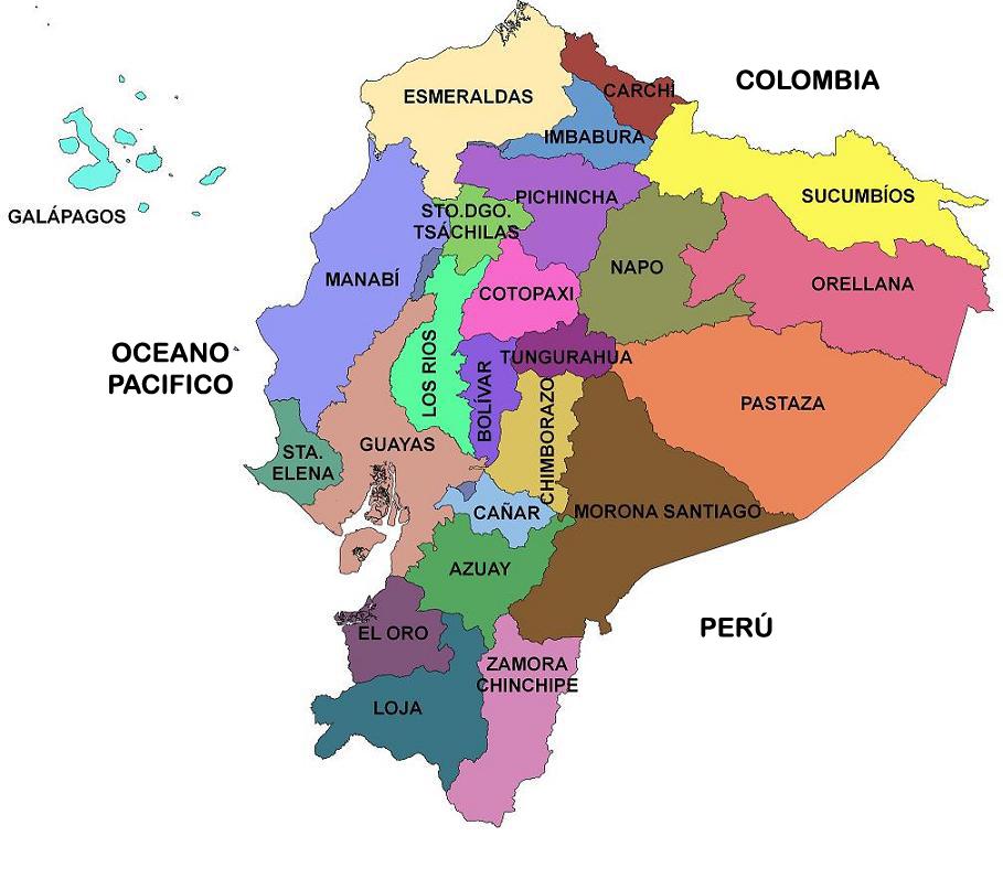 Mapa De Las Provincias Del Ecuador  Actualizado