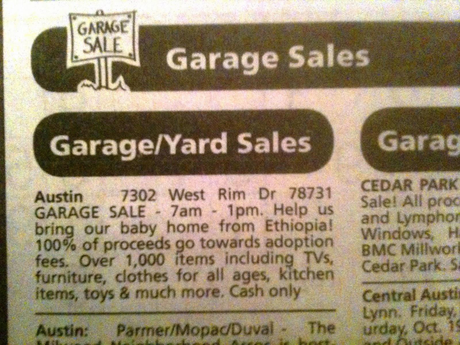 Schwoch talk schwoch a bye baby adoption garage sale for Garage ad nancy