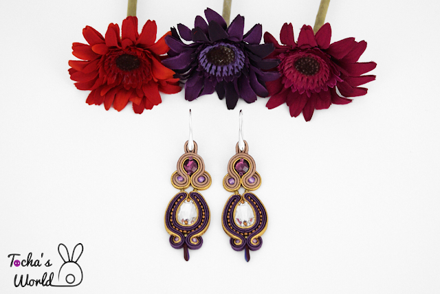 soutache earrings, vegan jewelry, golden earrings, Swarovski,