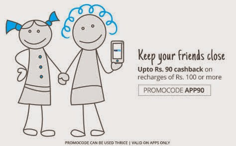 Weekend Blast with Paytm - Get upto Rs. 90 cash back on Recharges and Bill Payment on paytm mobile app