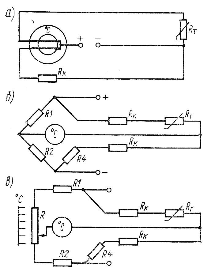 Схемы включения электрических термометров