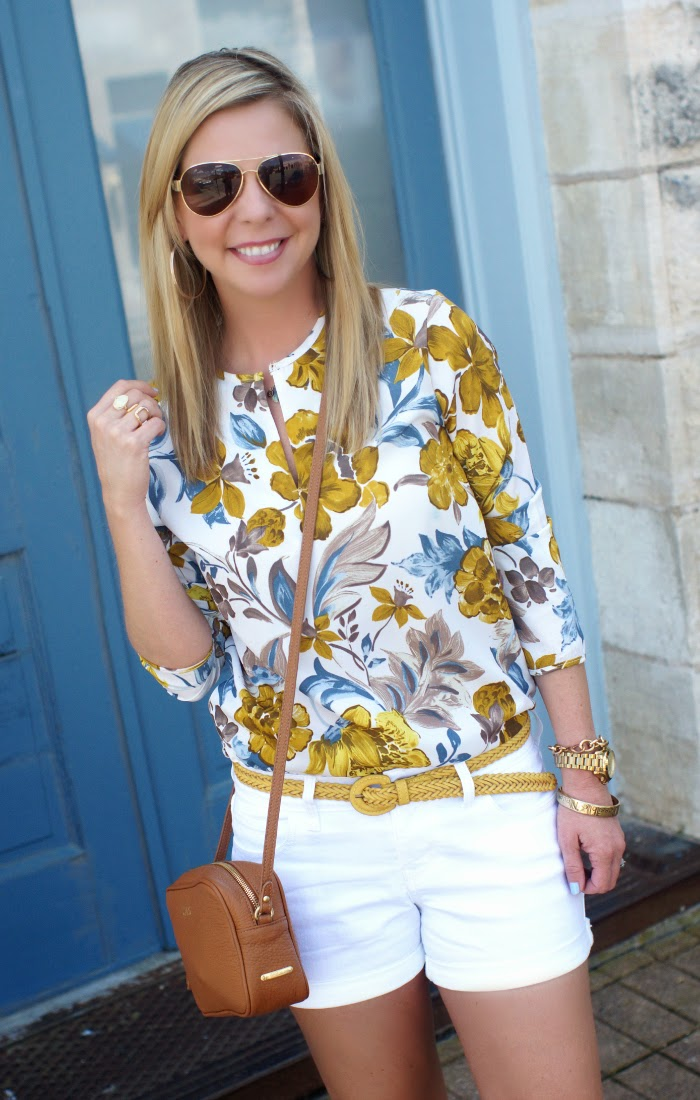 SheInside Mustard and Blue Floral Blouse