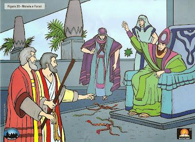 Desenho colorido de Moisés e Faraó