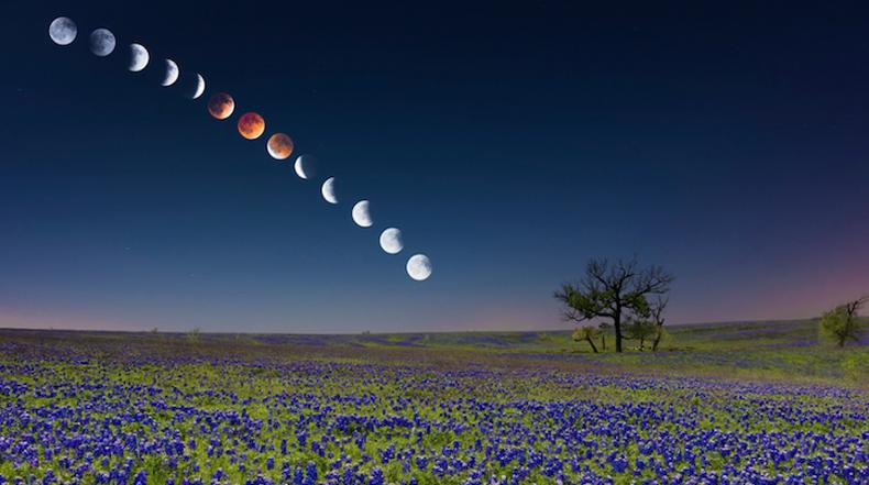 """Impresionante imagen compuesta del eclipse de """"luna roja"""""""