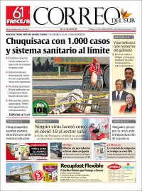 06/07/2020   BOLIVIA   UNA  PRIMERA PÁGINA DE LA PRENSA