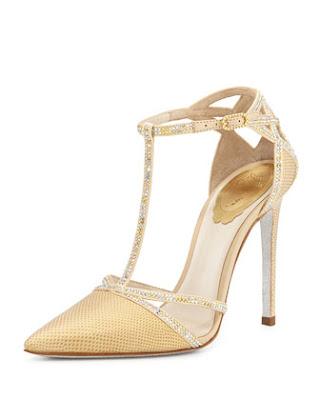 Rene Caovilla lizard and crystal t-strap high heeled pumps