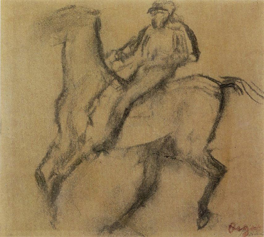 Jockey sobre caballo, ca. 1900