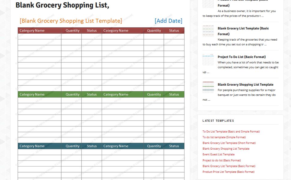 blank grocery list template microsoft