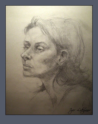 female face, head study (pencil drawing)