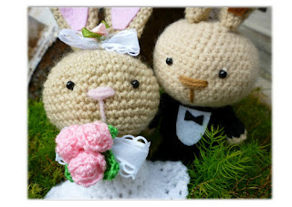 Amigurumi crochet wedding bunny doll gift