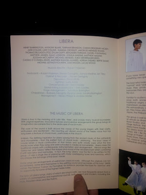 Concert programme from Libera concert in Jersey, Channel Islands.