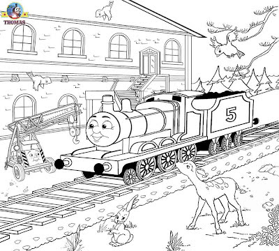 Art train station scenery childrens color sheets printable pages for coloring James the red engine