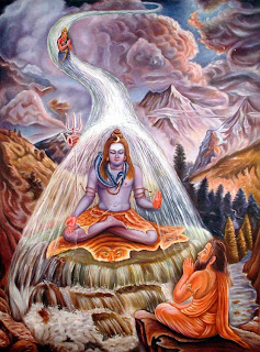 Ganga trapped in Shiva's hair; South Indian mural.