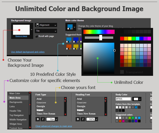 >Sevida Blogger Template Features Unlimited Color