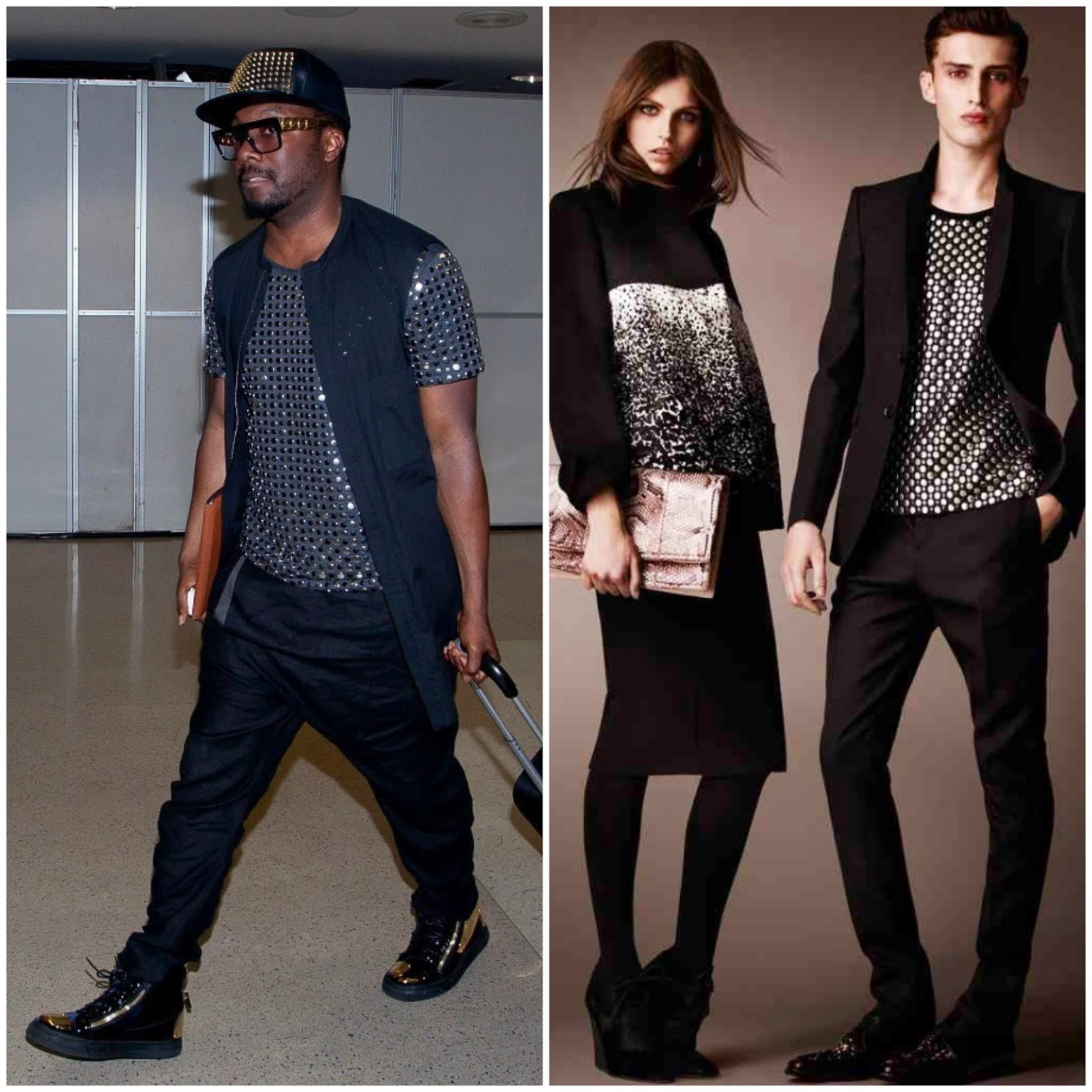 00O00 Menswear Blog Will.i.am's Burberry Prorsum shirt and Giuseppe Zanotti Homme sneakers LAX airport June 2013