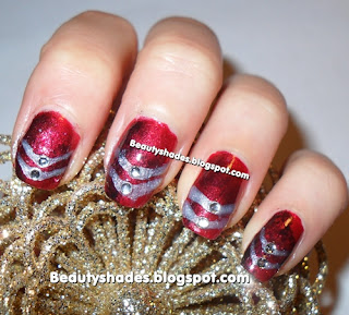 Barry m red glitter nail paint. NYC fast top coat. Silver nail art pen