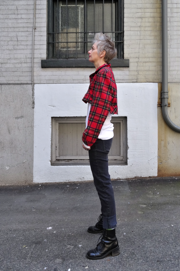 Bag and a Beret, upcycled tartan jacket, profile, by Melanie Kobayashi