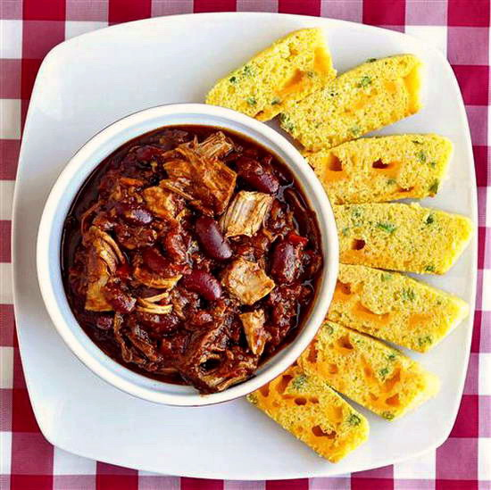 Pulled Pork Chili with Cheddar Green Onion Cornbread