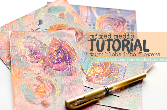 mixed media tutorial: turning circle paint blobs into doodled painted flowers