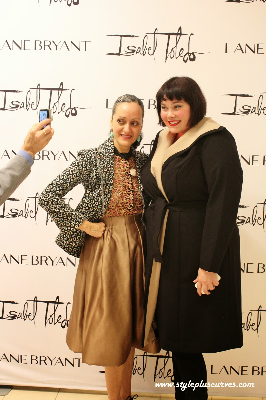 Amber from Style Plus Curves in the Isabel Toledo Luxe Wrap Coat from Lane Bryant