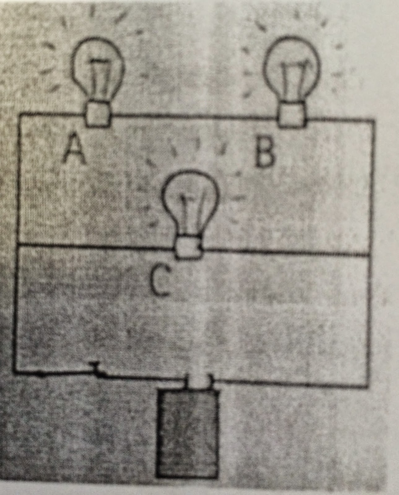 Laytons Physics Class Pb Unit 6 Summary Parallel And Series Circuit With Lightbulbs Battery Consider The Three Parts Of A Top Branch Two Bulbs B Middle One Bulb C