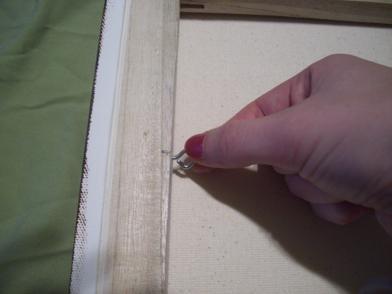 Art by jae how to wire a painting for hanging repeat step 3 and 4 for the opposite stretcher bar so that both eye hooks are in place jeuxipadfo Gallery